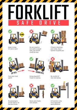 Forklift safe drive poster, Forklift safety rules.