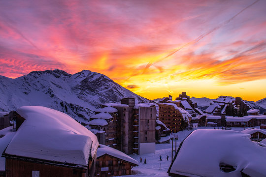 Sky on fire over Avoriaz in the French Alps