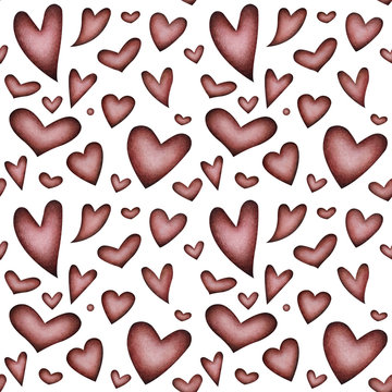 Pattern with watercolor hearts