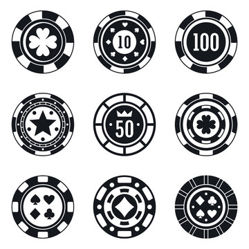 Poker casino chips icons set. Simple set of poker casino chips vector icons for web design on white background