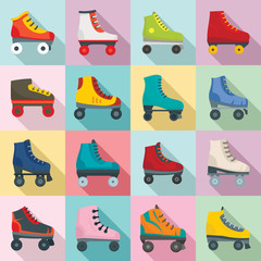 Roller skates icons set. Flat set of roller skates vector icons for web design