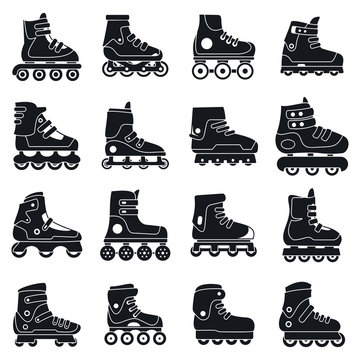 Fitness inline skates icons set. Simple set of fitness inline skates vector icons for web design on white background