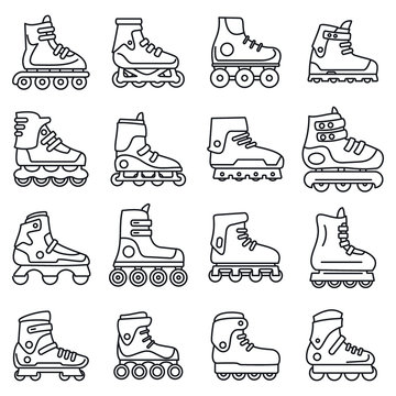 Sport inline skates icons set. Outline set of sport inline skates vector icons for web design isolated on white background