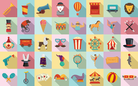 Circus icons set. Flat set of circus vector icons for web design