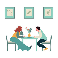 A collection of women and men sitting at a table and drinking alcohol or wine in a cafe. Romantic date or meeting friends in the bar. Moder style, vector illustration