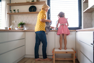 Wall Mural - A rear view of small girl with mother indoors in kitchen, washing up dishes.