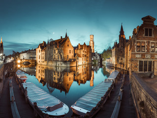 Photo sur Toile Bruges Historic city of Brugge in twilight, Flanders, Belgium