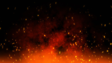 Fire embers particles over black black background. Fire sparks background. Abstract dark glitter fire particles lights. Fotomurales