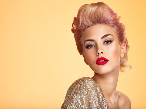 Beautiful blond woman with style hairstyle