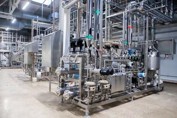 Food industry equipment close-up. Milk processing