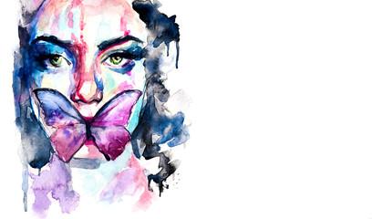 Dipinto in acquerello di ritratto in primo piano di donna con una farfalla sul viso
