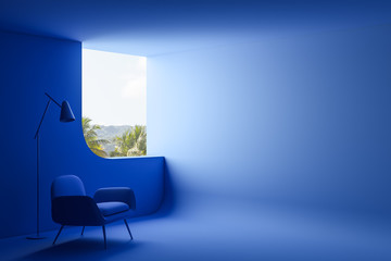 Wall Murals Akt Blue living room interior with armchair