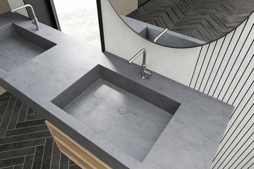 Top view of double sink in white bathroom