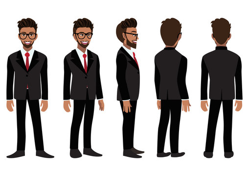 Cartoon character with American African business man in a black suit for animation. Front, side, back, 3-4 view animated character. Flat vector illustration.
