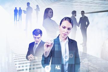 Fotobehang - Businesswoman using immersive big data interface