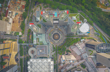 Fototapete - Top view of the Singapore landmark financial business district with skyscraper. Fountain of Wealth at Suntec city in Singapore