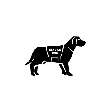 Service dog silhouette icon. Clipart image isolated on white background