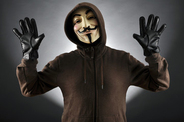 Anonymous with Guy Fawkes Mask in Studio