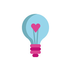 happy valentines day bulb with heart icon