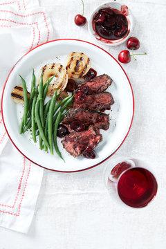 Steak Dinner on white
