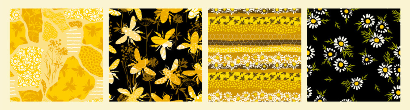 Seamless patterns with bee. Trendy hand drawn textures.