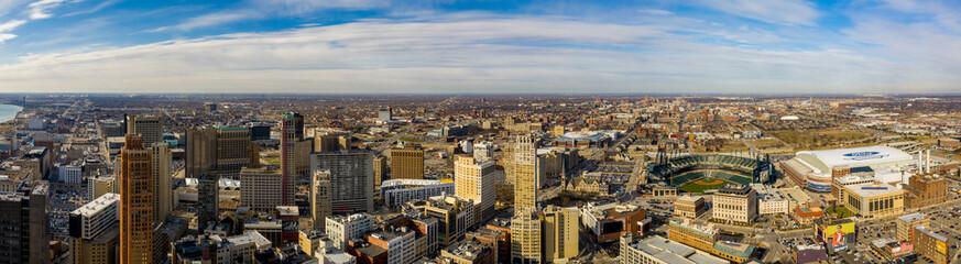 Aerial panorama Downtown Detroit Michigan USA Fotomurales