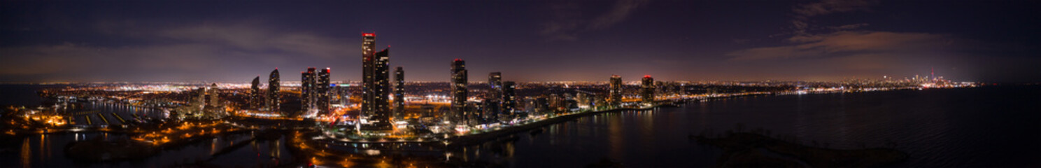 Wall Mural - Night aerial panorama Toronto Canada lakeside