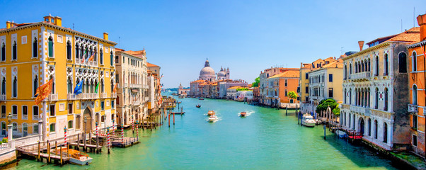 Wall Murals Gondolas Panorama of Grand Canal and Basilica Santa Maria della Salute in Venice, Italy.