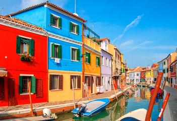Colorful houses in Burano island near Venice, Italy.