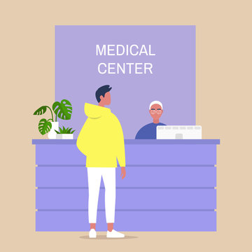 Medical center reception desk, young male character waiting for a doctor appointment, healthcare and lifestyle