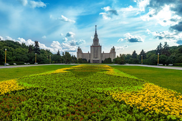 Russia. Moscow. Sparrow Hills. Moscow State University. Architecture of Russian cities. Panorama of Alley in the center of Moscow. Education in the Russian Federation. Travel to the capital of Russia.