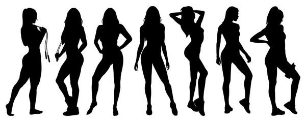 Fitness girl posing. Sport girls. Black Silhouette. Isolated vector illustration on white background