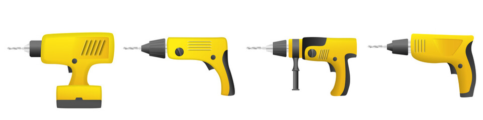Drilling machine icons set. Realistic set of drilling machine vector icons for web design isolated on white background