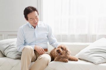 Man petting dog on sofa