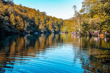 Recreation area at  Lake Buyuk in Yedigoller National Park, Bolu City, Turkey