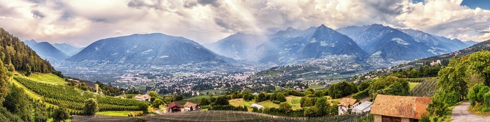 In de dag Mediterraans Europa Panoramic view on Merano in South Tyrol, Italy