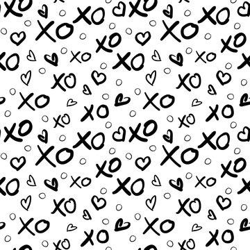 XO and Hearts monochrome pattern