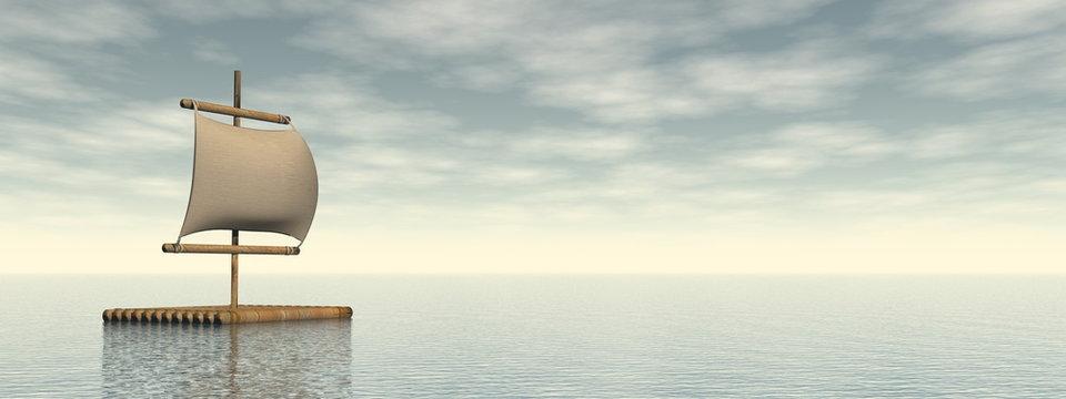 Wooden raft lost in the ocean - 3D render