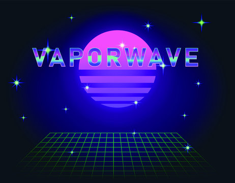 Retrofuturistic landscape with laser grid and neon sun. Vaporwave and retrowave style background.