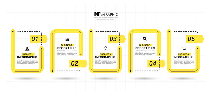 5 Steps Timeline Infographics design template.