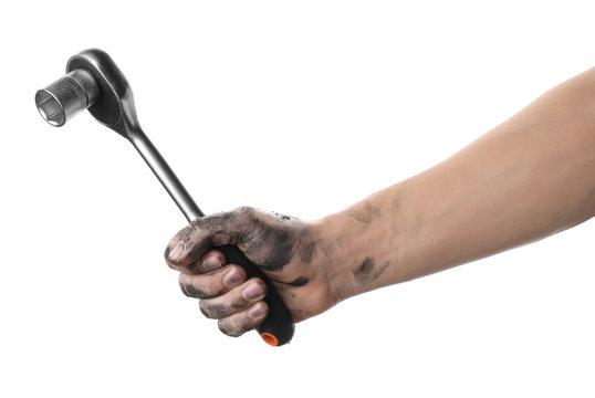 Auto mechanic holding socket wrench isolated on white, closeup