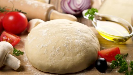 Fotobehang - raw dough pizza and ingredient on board