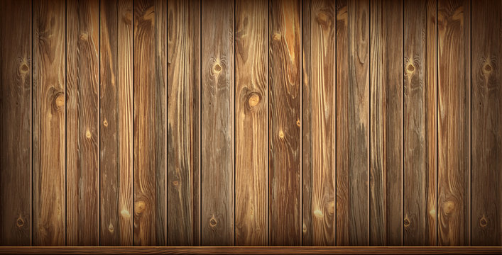 Wooden wall and baseboard with aged surface, realistic vector illustration. Vintage wall and floor made of darkened wood, realistic plank texture. Empty room interior background