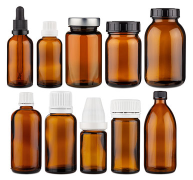 Set collection row of various brown medicine pill glass pipette dropper bottle blank without copyspace label design pattern isolated white panorama background