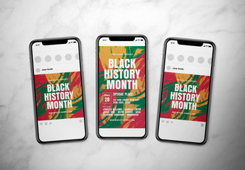 Black History Month Social Media Post Layout Set with Abstract Backgrounds