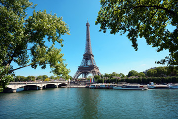 Aluminium Prints Eiffel Tower Eiffel Tower with River Seine on a sunny summer day in Paris, France