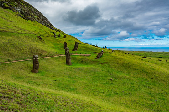 Crooked Moais in the quarry, Rapa Nui island