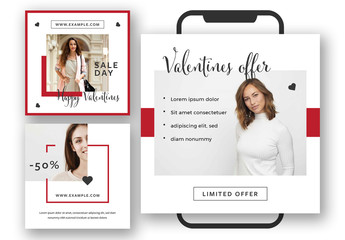 Set of Social Media Post Layouts with Red Accents