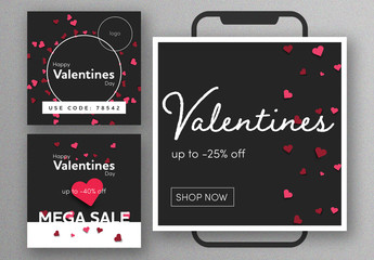 Black Valentine's Day Social Media Post Layout Set with Pink Heart Patterns