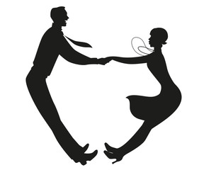 Fototapete - Silhouette of funny couple wearing vintage clothes dancing retro dance isolated on white background